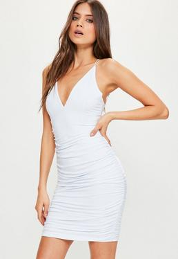 White Slinky Double Strap Ruched Bodycon Dress