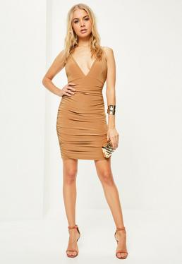 Camel Slinky Double Strap Ruched Bodycon Dress