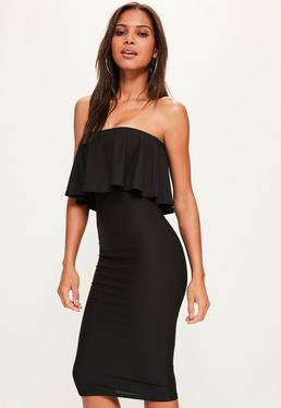 Black Bandeau Frill Detail Midi Dress