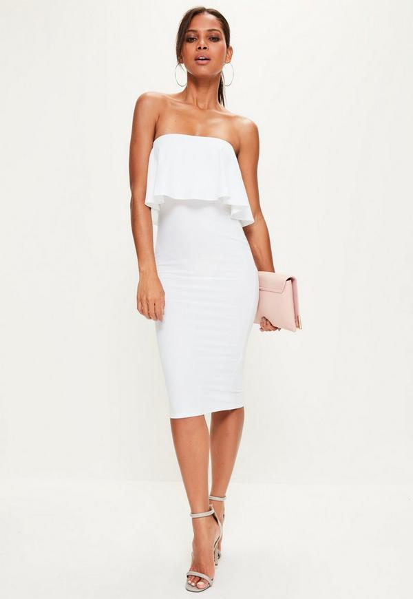 Missguided white strapless midi dress