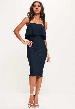 Navy Bandeau Frill Detail Midi Dress