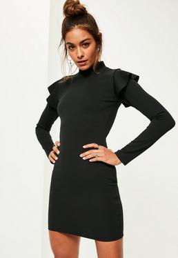 Black Scuba High Neck Frill Shoulder Bodycon Dress