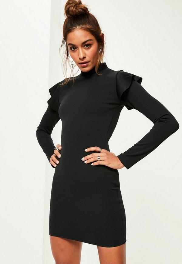 Black Scuba High Neck Frill Shoulder Bodycon Dress