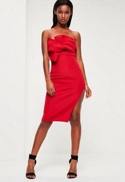 Red Scuba Bow Midi Dress