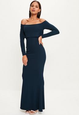 Navy Crepe Long Sleeve Bardot Maxi Dress