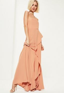 Nude Crepe Bandeau Frill Maxi Dress