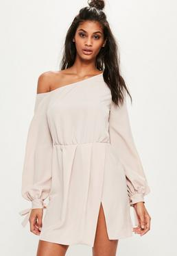 Nude Crepe Off The Shoulder Balloon Sleeve Shift Dress