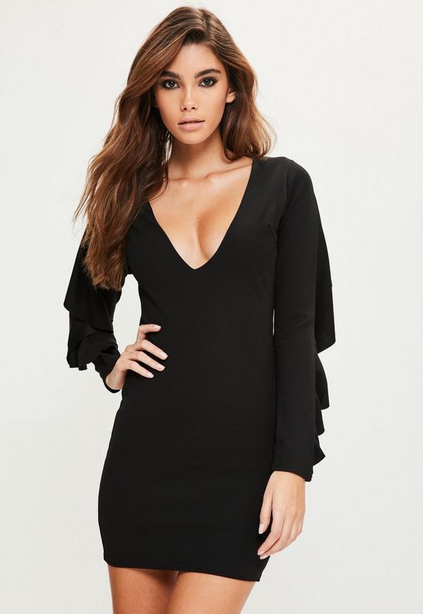 Black Crepe Frill Back Detail Bodycon Dress