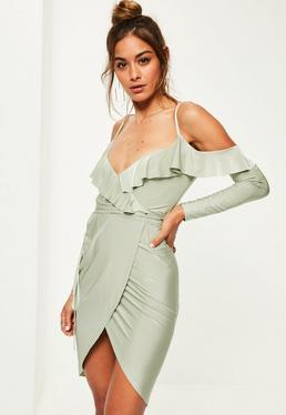Green Slinky Frill Cold Shoulder Midi Dress