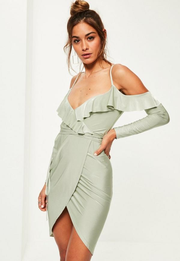 Green Slinky Frill Cold Shoulder Midi Dress