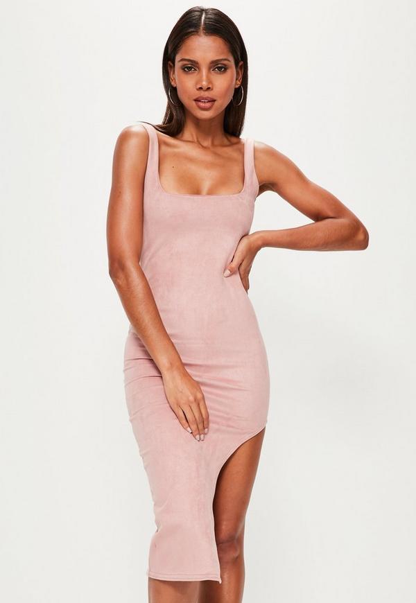 Pink Faux Suede Asymmetric Midi Dress