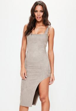 Grey Faux Suede Asymmetric Midi Dress