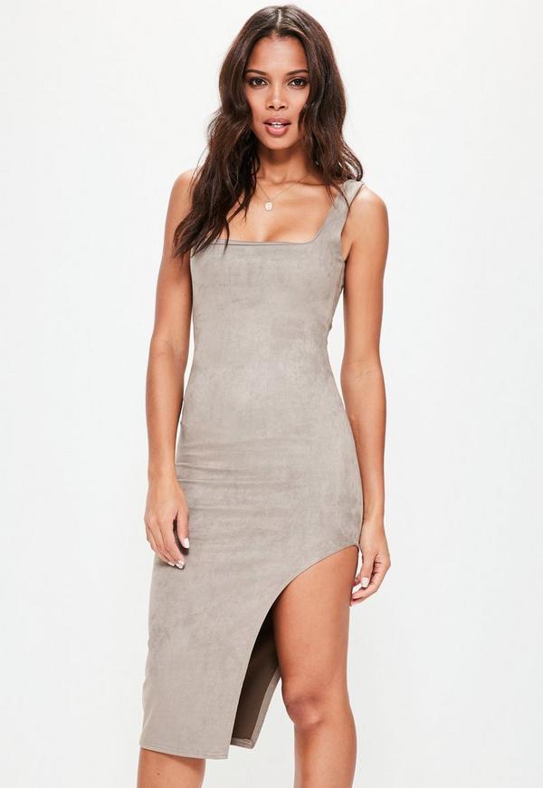 Grey Faux Suede Asymmetric Midi Dress