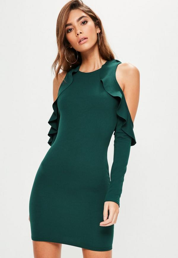 Green Frill Cold Shoulder Bodycon Dress