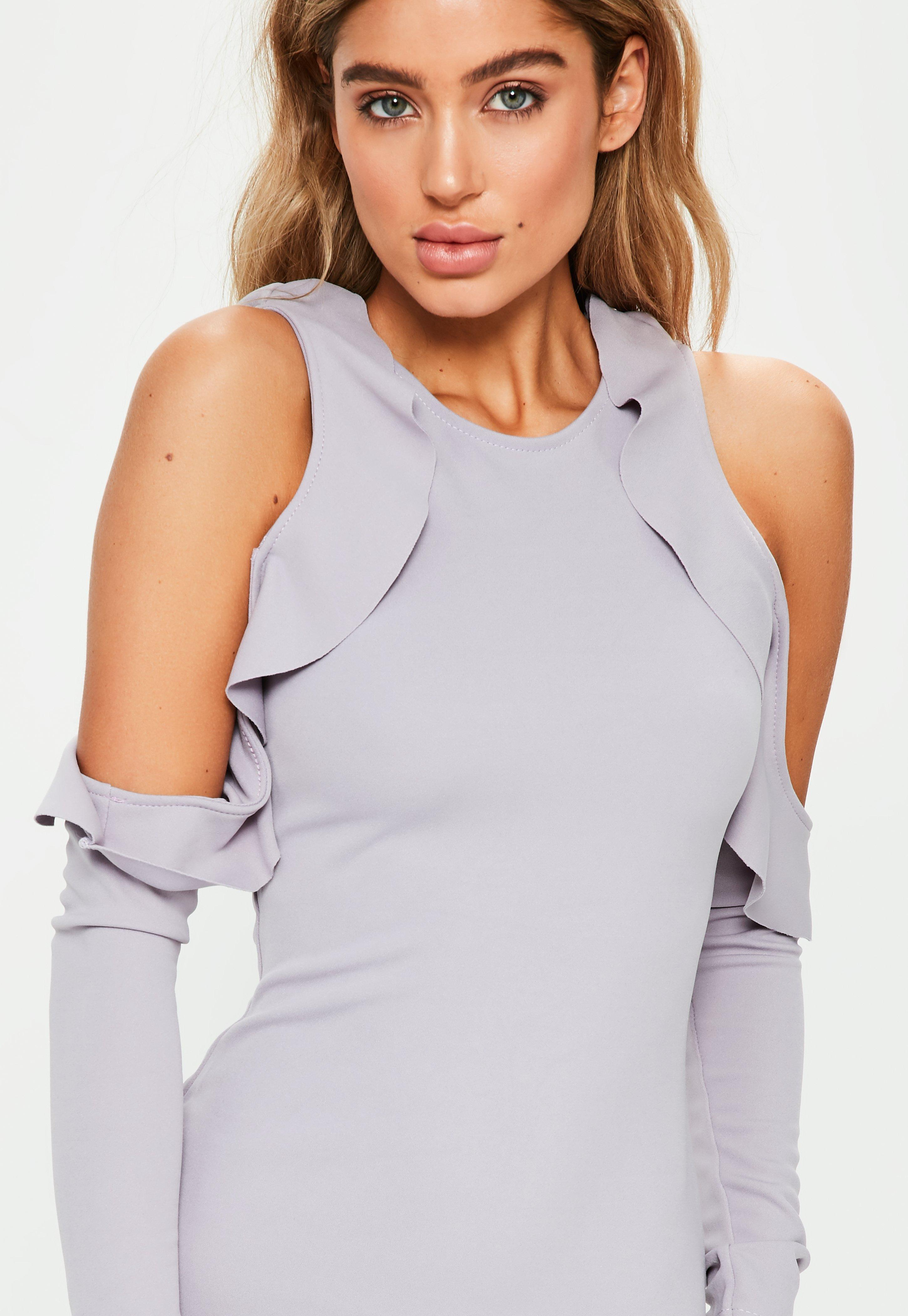 Grey Frill Cold Shoulder Bodycon Dress