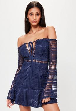 Navy Bardot Lace Frill Hem Shift Dress