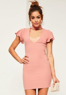 Pink Crepe Frill Sleeve Choker Neck Bodycon Dress