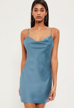 Blue Silky Cowl Front Cami Dress