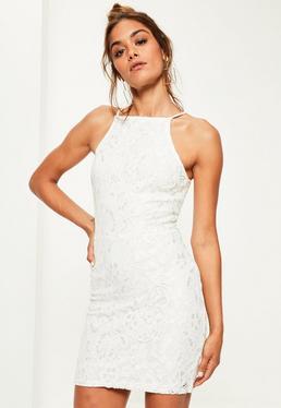 White Lace Square Neck Bodycon Dress