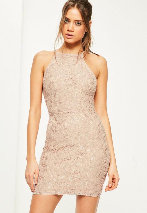 Nude Lace Square Neck Bodycon Dress