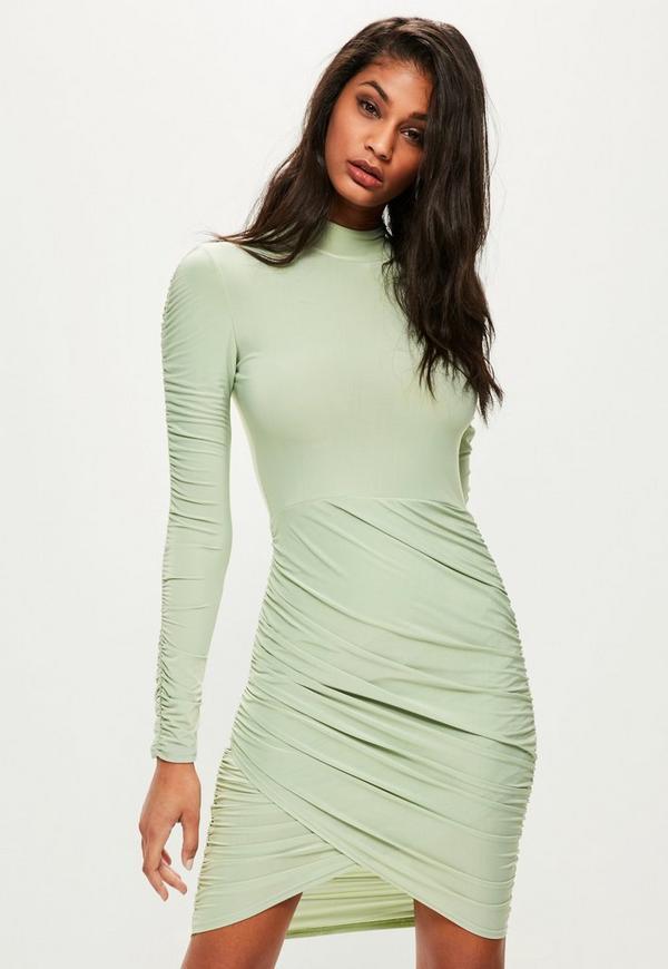 Green Slinky High Neck Ruched Mini Dress