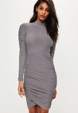 Grey Slinky High Neck Ruched Mini Dress