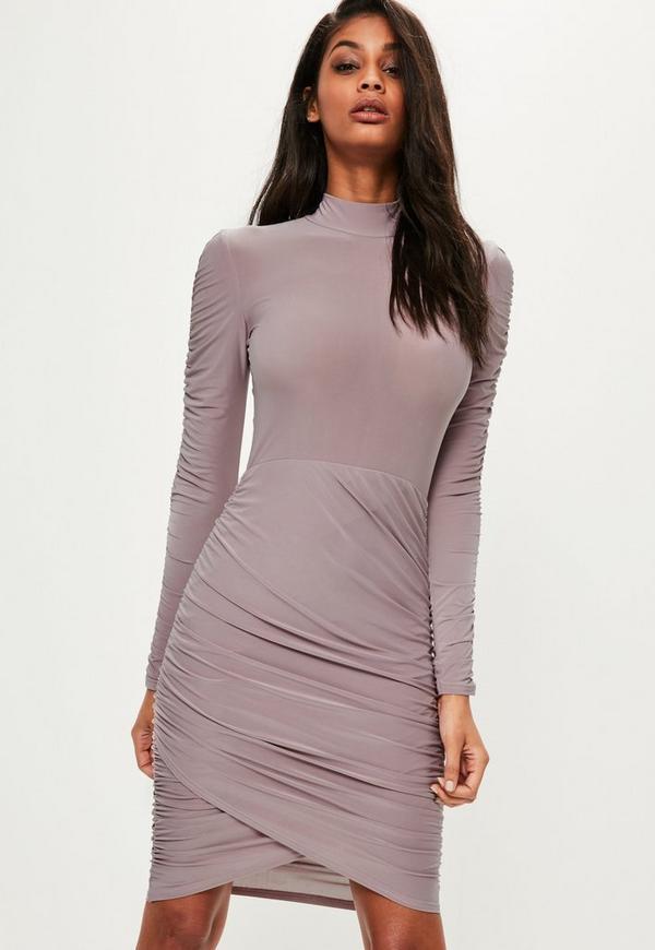 Purple Slinky High Ruched Mini Dress