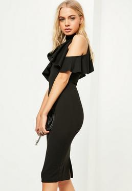 Black High Neck Frill Cold Shoulder Dress