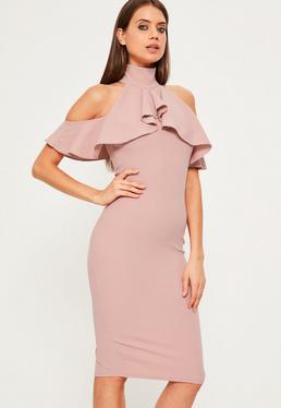 Pink High Neck Frill Cold Shoulder Dress