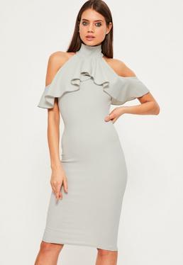 Grey High Neck Frill Cold Shoulder Dress