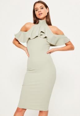 Green High Neck Frill Cold Shoulder Midi Dress