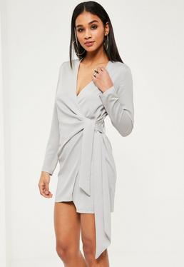 Grey Silky Wrap Tie Waist Shirt Dress
