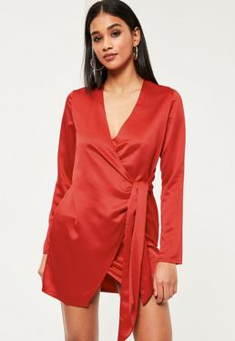 Red Silky Wrap Tie Waist Shirt Dress