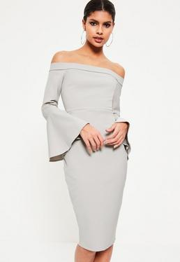 Grey Bardot frill sleeve tailored midi dress