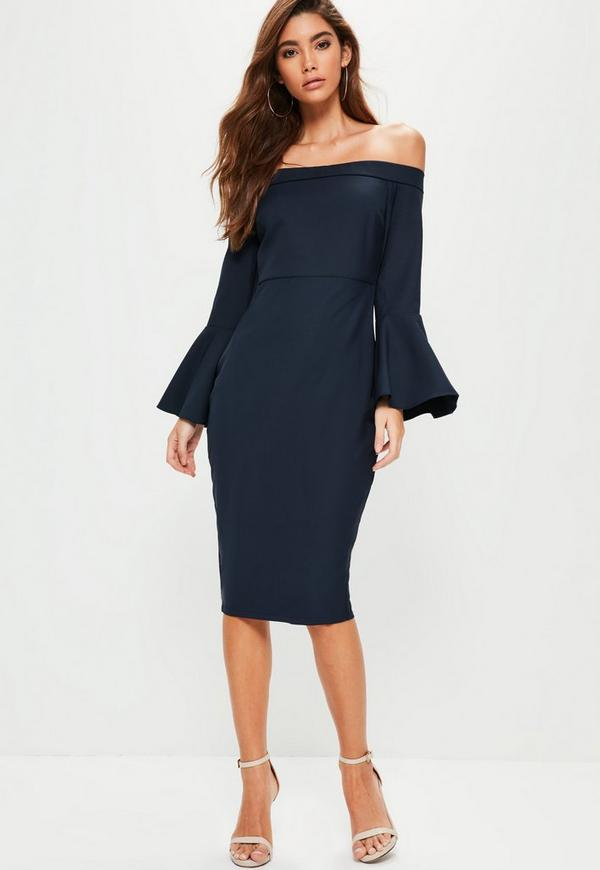 Navy Bardot Frill Sleeve Midi Dress Missguided