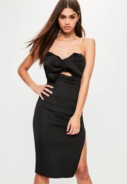 Czarna dopasowana sukienka midi pomarszczona z przodu