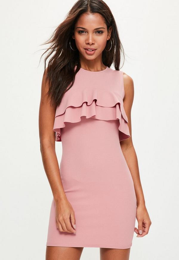 Pink Sleeveless Frill Bodycon Dress
