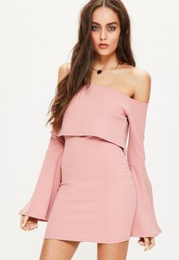 Pink Crepe Bardot Split Sleeve Bodycon Dress