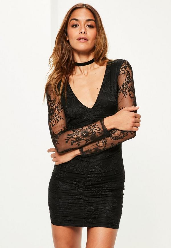 Black Fine Lace Plunge Ruche Bodycon Dress