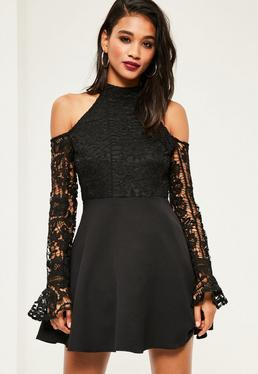 Black Lace High Neck Cold Shoulder Skater Dress
