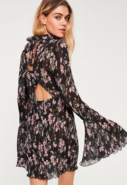 Black Floral Pleated Frill Sleeve Bodycon Dress