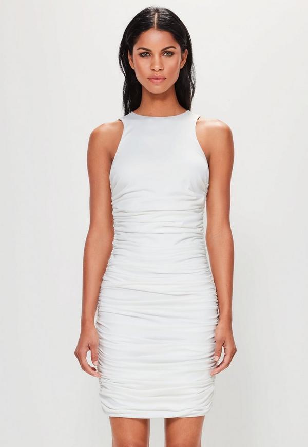 Peace Love White Sleeveless Ruched Side Mini Dress