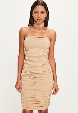Peace + Love Nude Bandeau Bodycon Midi Dress