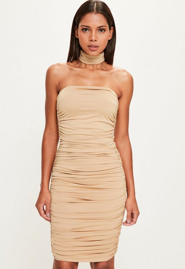 Peace + Love Nude Bandeau Bodycon Midi Dress