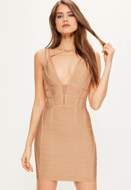 Bandażowa dopasowana sukienka w kolorze wielbłądzim