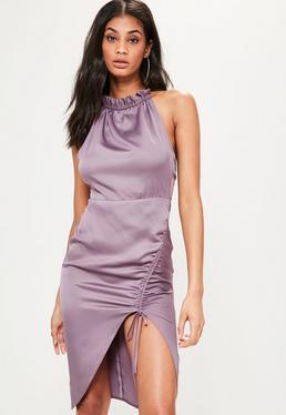 Fioletowa jedwabna marszczona sukienka midi