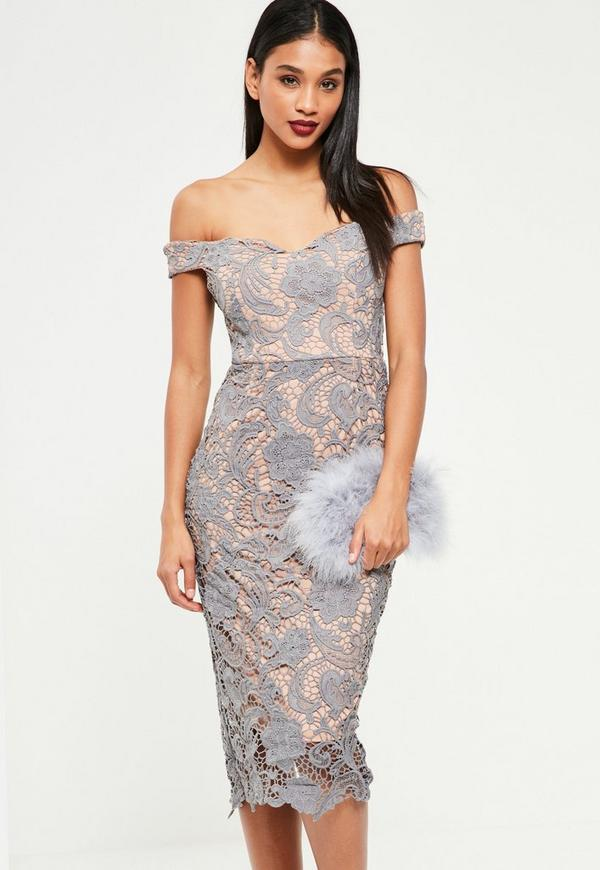 Grey Bardot Lace Midi Dress