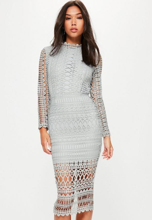 Grey High Neck Structured Lace Midi Dress