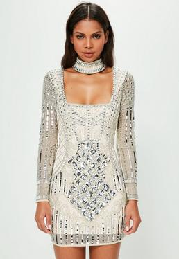 Peace + Love White Choker Neck Embellished Bodycon Dress