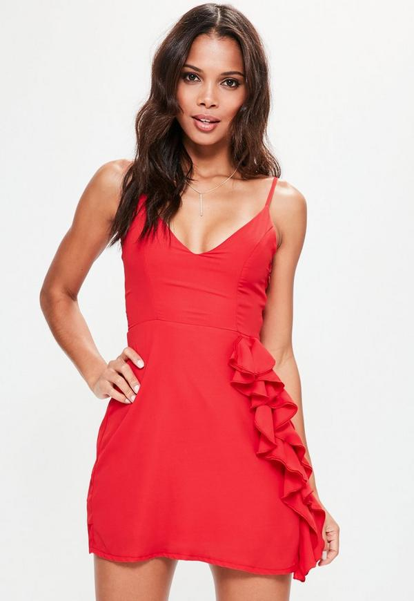 Red Crepe Strappy Ruffle Shift Dress